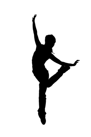 street dancer silhouette on white background photo