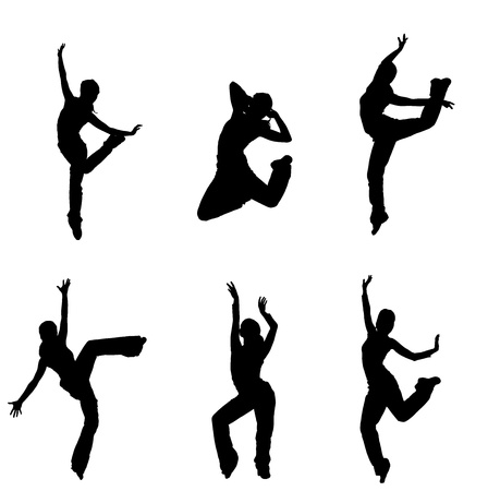abstract dance: silhouettes of street dancers on a white background