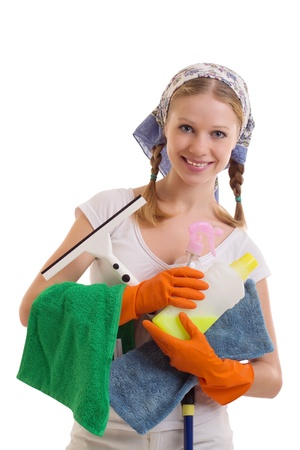 willing: Young Housewife in rubber gloves