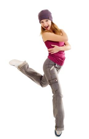 woman dancing: young female dancing jazz modern dance