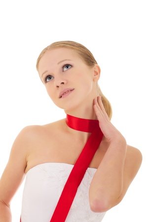 beautiful young woman with a red silk ribbon photo