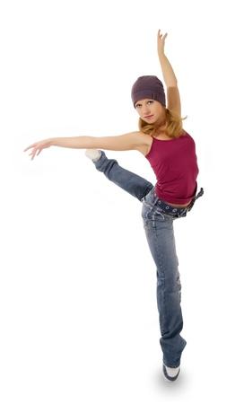 danza moderna: hembra joven de jazz bailando la danza moderna