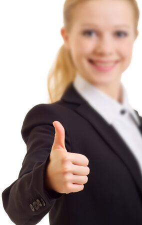 businesswoman shows  hand with thumb up Stock Photo - 11027954