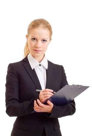 carpetas: bella mujer de negocios joven con la carpeta