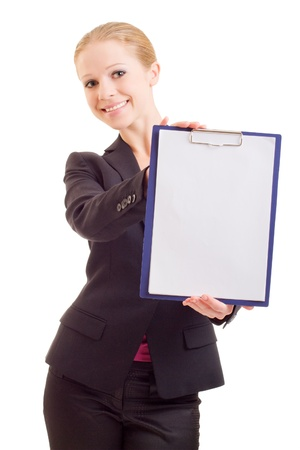business woman with a represent folder photo