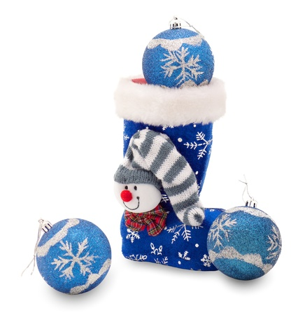 Blue Christmas stocking  and three balls Stock Photo - 11027972
