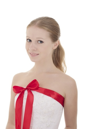 beautiful girl with a red ribbon  photo