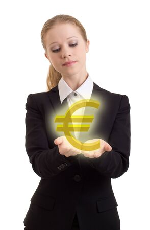 opulence: business woman chooses euro sign