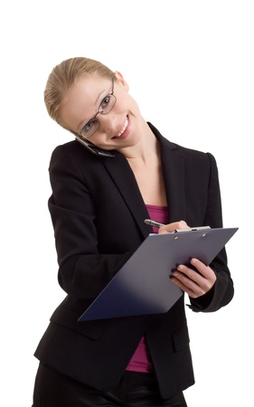 business woman talking on a cell phone  photo