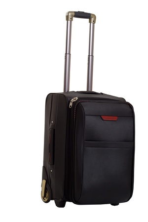 suitcase with a handle on a white background photo