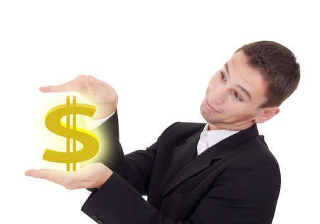 one people: businessman holds  US dollar sign