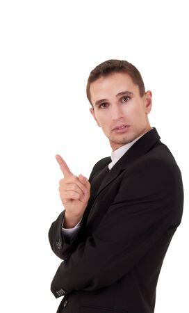 wag: businessmen shaking his finger over white
