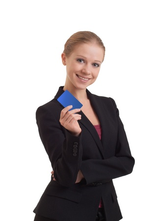 young business woman with a banking card  photo