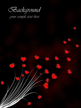 compliments: Valentine`s day card, red hearts on a black