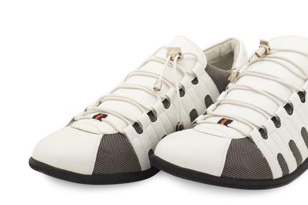 stylish men's sneakers new white over white Stock Photo - 11588171
