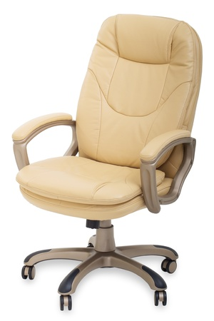 office chairs: new Leather office chair on wheels