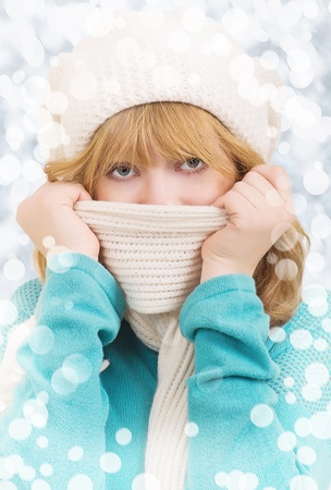 winter portrait of a beautiful girl in a hat  photo