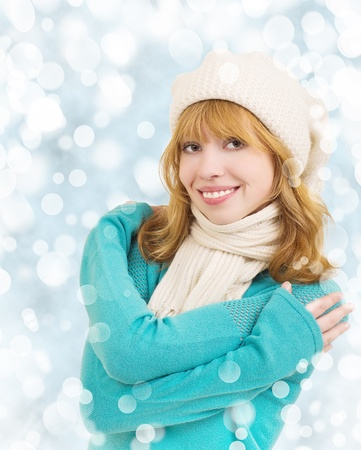 Christmas  beautiful young happy woman photo
