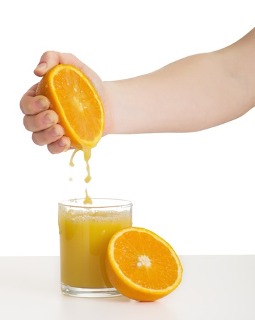 hand squeezes the juice from the orange