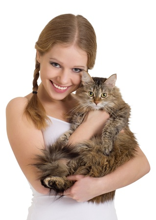 a lovely cat: pretty girl with a fluffy cat over white