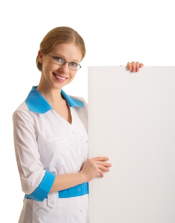 female doctor holding blank billboard isolated photo