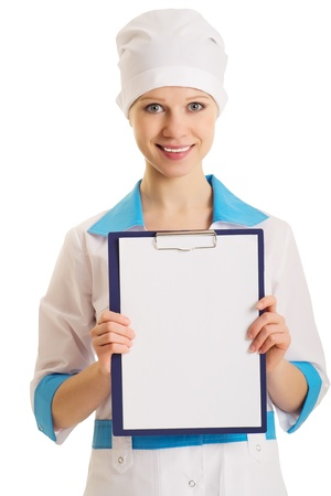 nurse with an advertising tablet over white  photo