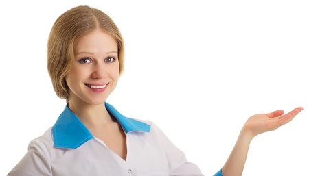 doctor woman presenting and showing  Stock Photo - 12021827