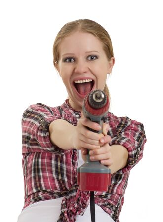 cordless: cheerful girl with cordless drill isolated  Stock Photo