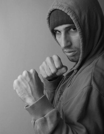 strong man with his fists ready to fight photo