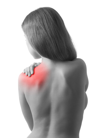 epaule douleur: Vue arrière de l'épaule, femme, tenue dans la douleur