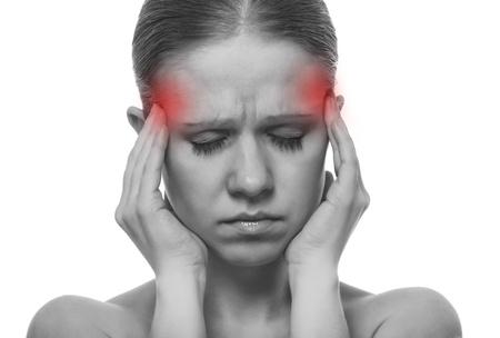 Vrouw die een migraine, geïsoleerd Stockfoto