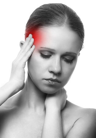 red head woman: woman with headache on white background