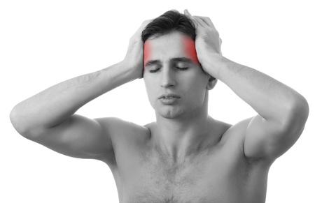 male headache: el hombre con dolor de cabeza en el fondo blanco Foto de archivo