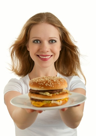 adult sandwich: attractive girl holds fast food, hamburger