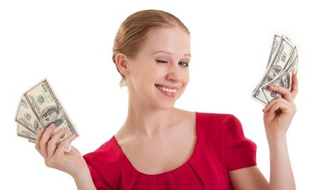 beauty funny girl winks, holds the money,