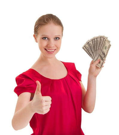 successful  woman holding the money photo