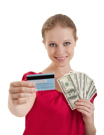 woman chooses  a credit card, cash money, photo