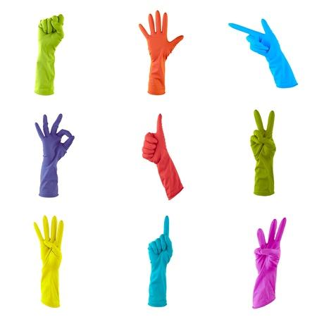 servicio domestico: collage de guantes de goma de colores para limpiar la casa
