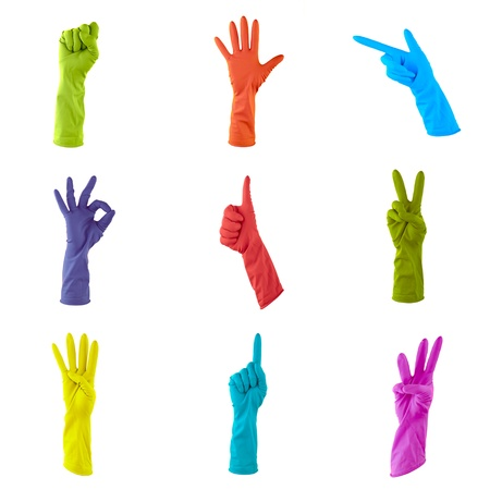 collage of colorful rubber gloves to clean the house photo
