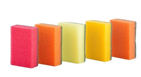 Group of kitchen colorful sponges isolated  photo