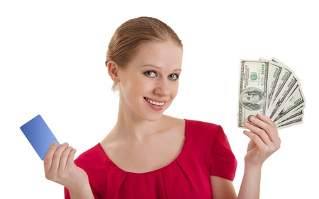 woman, credit card, cash money,  dollars  photo