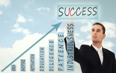 businessman chooses  concept of business success photo