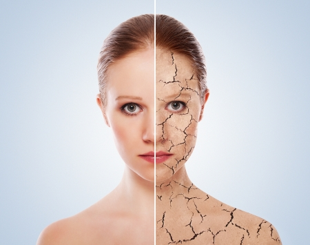 skin care: concept of cosmetic effects, treatment, skin care.  Stock Photo