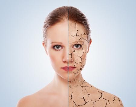 cute: concetto di effetti cosmetici, trattamento, cura della pelle. Archivio Fotografico