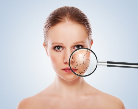 skin treatment: concept of cosmetic effects, treatment, skin care.