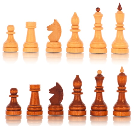 bishop: Chess. group of white and black wooden chess  Stock Photo