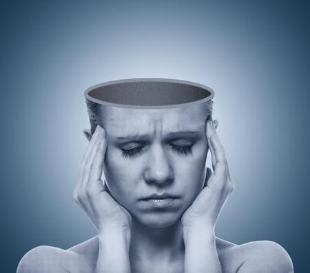 woman headache: concept of a headache. open empty the skull