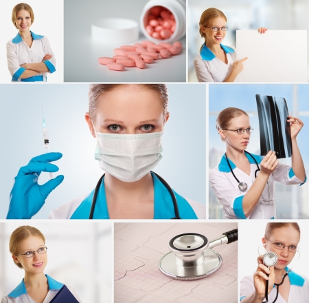 Medical Collage. doctor, nurse, stethoscope, syringe, photo