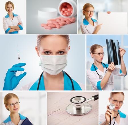 Medical Collage. doctor, nurse, stethoscope, syringe, photo