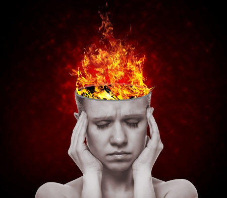 open brain: concept, an idea.  head of woman with a flame of fire